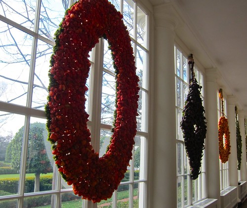 Great window wreaths made of fruit adorning the view of the Kennedy Gardens.
