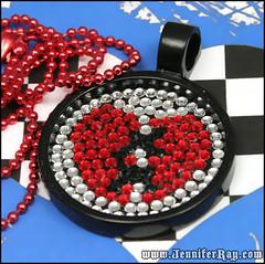 Stitched Broken Heart Pendant (JenniferRay.com) Tags: red white black broken heart handmade emo jewelry swarovski bling rocknroll healing stitched pendant heartbroken jenniferray