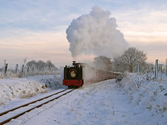 Steaming in a Winter Wonderland (1) (Gerry Balding) Tags: trees winter england snow cold ice track norfolk frosty steam rails thunder eastanglia narrowgauge tankengine santaspecial uksteam burevalleyrailway wroxhambank bvr8