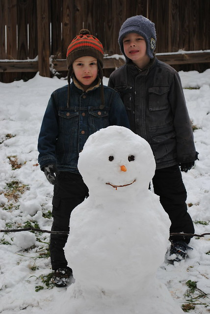 Eli, Cole, and the snowman