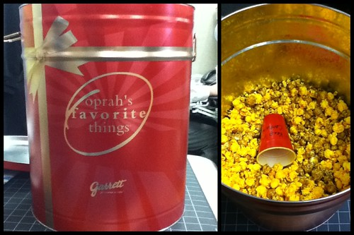 Ptw Giant tub of Garrett cheese butter Carmel popcorn