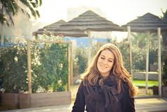 Sun-kissed Francesca (Choollus) Tags: blue autumn light sun mer sunlight fall luz sol beach girl smile fashion azul strand fur soleil mar necklace belt seaside eyes italian italia mare chica blu blueeyes moda playa rimini palm francesca bleu palmtrees blond blond