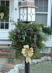 Christmas wreath on light post (kizilod2) Tags: christmas frost wreath evergreen decorating bow lichen pinecone lightpost russiansage