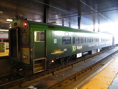 MBTA MBB CTC-3 Cab Car 1502 in TD Bank wrap at North Station in November, 2009 (ck4049) Tags: bus car boston train subway tmc coach flyer gm blueline cab massachusetts horizon rail line somerville pullman commuter locomotive passenger mbta rts redline greenline gmc nabi orangeline bombardier flxible mbcr emd ck4049