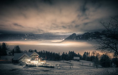 ~ World between clouds ~ (dmkdmkdmk) Tags: winter light sea house lake snow cold nature fog night clouds dark landscape nikon village hdr schwyz lowerzersee hauszwischenwolkenlauerzersee