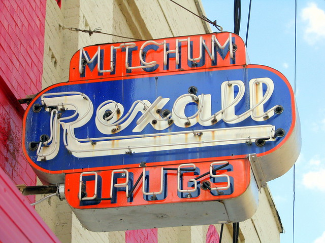 Mitchum Rexall Drugs neon sign