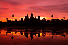 Angkor Wat, Cambodia (DMac 5D Mark II) Tags: world old city longexposure pink trees red favorite orange lake black reflection heritage history classic monument broadcast nature water colors yellow clouds sunrise canon wow dark landscape temple eos dawn nationalpark 3d interestingness google interesting twilight ancient friend colorful asia cambodia pretty khmer purple vibrant january favorites wideangle landmark angkorwat september explore un jungle broadcasting siem reap getty historical 5d myfriend 1740 happynewyear 2010 naver googleimages stumbleupon daum imagesgooglecom ebs mark2 2011 explored canoneos5dmarkii gettyimagesartist