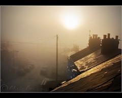 The Street.... (Digital Diary........) Tags: street light sunset chimney urban mist fog urbanlandscape chrisconway