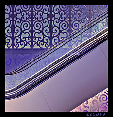 oriental stairs (sediama (break)) Tags: stairs germany dresden pattern escalator violet lila shoppingmall oriental muster pinks rolltreppe movingstairs einkaufszentrum centrumwarenhaus colorphotoaward sediama centrumgalerie bbbsdim0833kopieb