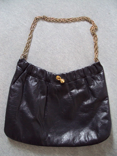 Vintage Navy Leather Chain Purse