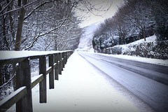 (andrewlee1967) Tags: road uk trees england snow fence britain gb diggle ef35mmf2 andrewlee andrewlee1967 canon50d