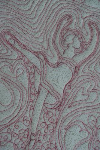 Bailarina desenhada em quilt livre