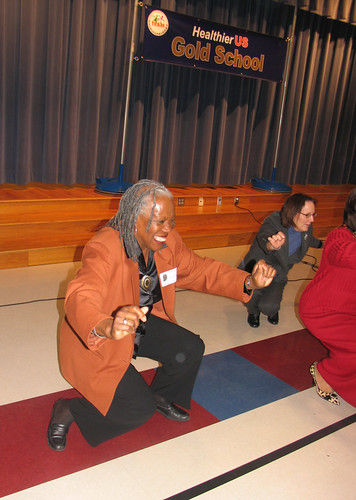 Deputy Administrator Audrey Rowe takes the dance challenge at Minshew Elementary School in McKinney, Texas. Students invited the adults to join them in some physical activity during the school assembly at the HealthierUS School Challenge gold award event.