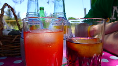 Fancy drinks for lunch (chantskerr) Tags: africa pink food orange colour southafrica lumix dof bokeh panasonic drinks lx5 dmclx5