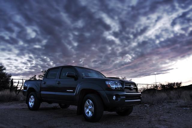 sunset arizona clouds desert trucks brackets hdr automobiles toyotatacoma dogtrack urbex blackcanyoncity 20101227