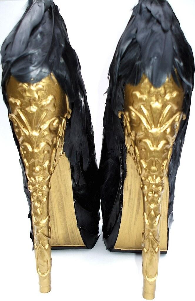 Etsy A La Femme Alexander McQueen tribute feather platform pumps 3