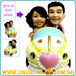 Custom 3D Wedding Couple Figurines On Lovely Car