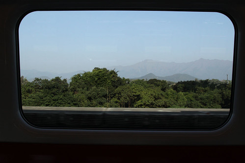 Looking out from a Ma On Shan line train