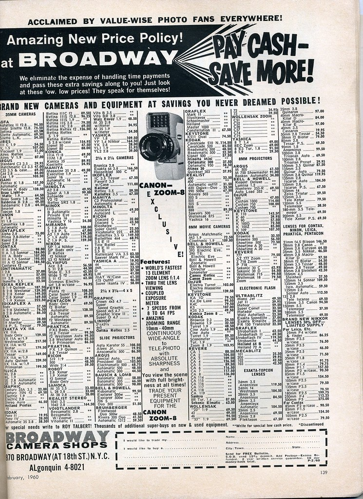 Broadway Camera mail order price list February 1960
