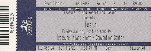 01/14/11 Tesla @ Treasure Island Casino, Welch, MN (Ticket)