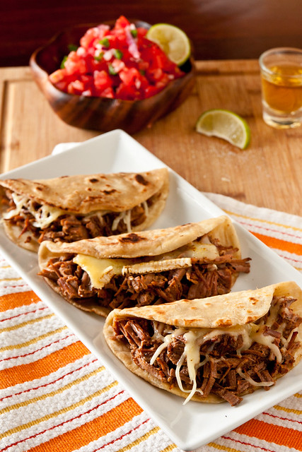 Brie and Brisket Quesadillas with Mango Barbecue Sauce