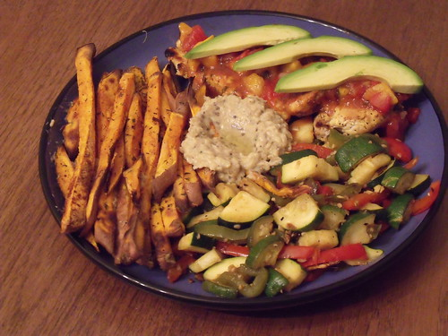 mango chicken, vegetables, sweet potato fries and baba ganoush