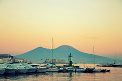 Mergellina the other side (Joeyful~) Tags: sunset sea boat italia tramonto mare campania barche napoli vela vesuvio riflessi mergellina
