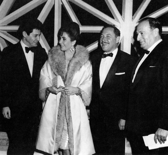 Eddie Fischer, Elizabeth Taylor, Tennesse Williams and Sam Spiegel