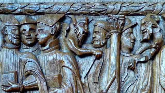 """""""Démons viennent quérir sorbonnards"""". Boiseries de la sacristie, 1576. Cathédrale Saint-Julien, Le Mans, dimanche 16 janvier 2011."""