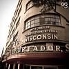 (Stromboly) Tags: red metal méxico wisconsin vintage square puerta edificio centro grain retro cemento oldie letras vender tipografía juárez desaturado construir importador combustión