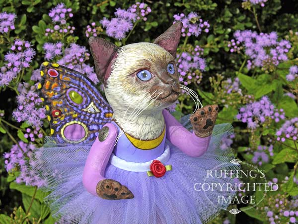 Luna the Pixie Kitten, Original, One-of-a-kind art doll by Max Bailey and Elizabeth Ruffing, version 3, Siamese Cat with Blue-purple Ageratums