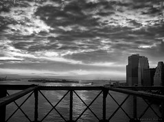 From The B Bridge (bijoyKetan) Tags: travel sunset sky blackandwhite newyork clouds dramatic brooklynbridge ketan tamron1750mm bijoyketan