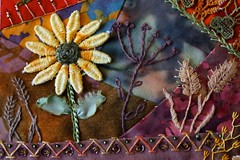 Detail of Ritva's Block (ivoryblushroses) Tags: autumn embroidery wheat sunflower cq stitching crazyquilting