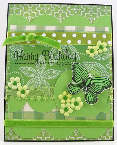 Green Birthday Butterfly Card