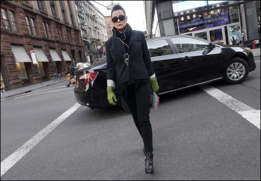 w dark grey blazer black jeans ankle boots green leather gloves black scarf sunglasses l small ol