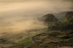 The Old Road (Tim Allott) Tags: hairpinbend woodlands pentaxk3 castleton hopevalley temperatureinversion landscape trees road mist derbyshire mamtor peakdistrictnationalpark september2016 inversion