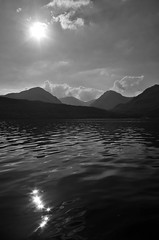 Loch Lomond and the Arrochar Alps (brightondj - getting the most from a cheap compact) Tags: fourthwalk inversnaid trossachs scotland arrocharalps bw lochlomond water sun sunlight reflection