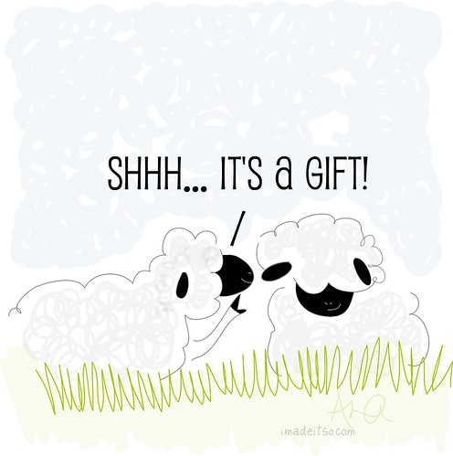 shh it's a gift illustrated sheep
