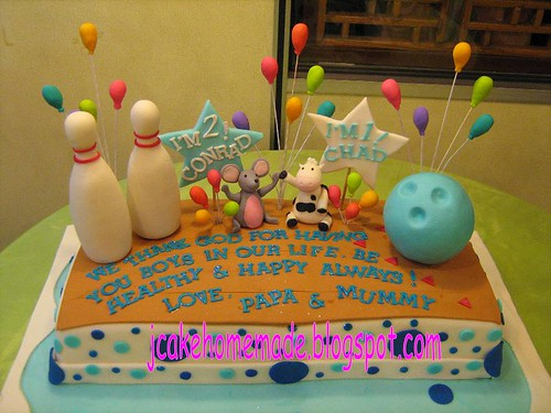 Miraculous Bowling Theme Birthday Cake A Photo On Flickriver Personalised Birthday Cards Veneteletsinfo