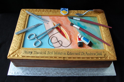 Dr. Seal's Retirement cake - surgeon & painter
