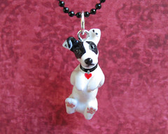 Custom dog charm (DragonsAndBeasties) Tags: sculpture dog cute statue puppy keychain heart small chibi charm polymerclay fimo terrier gift tiny kawaii sculpey spotted doggy etsy custom figurine tem jackrussel phonecharm premo zipperpull ittybitty pocketpet
