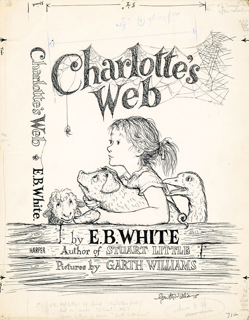 ink cover design sketch girl and farm animals under title banner draped in cobwebs