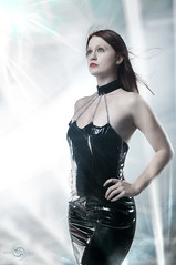 Futuristic Foxy (Scott E. Detweiler) Tags: beautiful female photoshop model nikon dress longhair vinyl redhead future scifi commander cyber strobist
