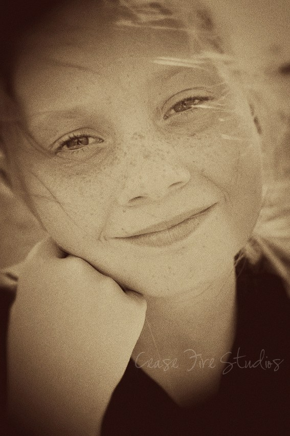 girl with sepia tone