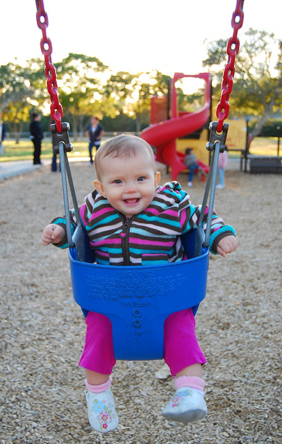 Having fun at the swing