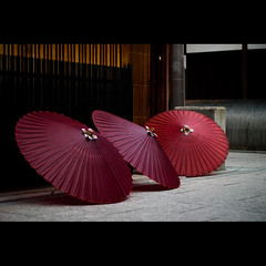 japanese umbrellas (Masahiro Makino) Tags: street japan umbrella photoshop canon eos japanese three kyoto kiss snap adobe    gion f18 lightroom x3 ef50mm  20091119132218canoneoskissx32s640p