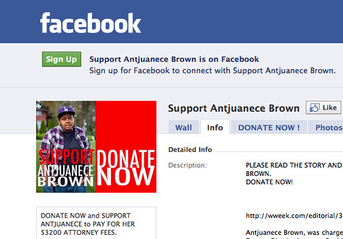 Facebook group for Antjuanece Brown