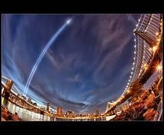 9/11 Tribute In Light (Mike Orso) Tags: park nyc bridge sky ny newyork reflection water brooklyn night clouds canon lights memorial manhattan 911 dumbo fisheye filter nik tribute 15mm hdr lr3 cs5 91110 5dm2