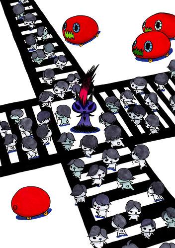群衆絵_スクランブル交差点を渡るメンズムンズと、たたずむディスメタむー