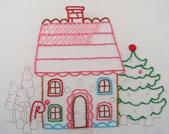 wip - gingerbread house (Kimberly Ouimet) Tags: pink embroidery gingerbread stitching gingerbreadhouse bigb bigbgsd